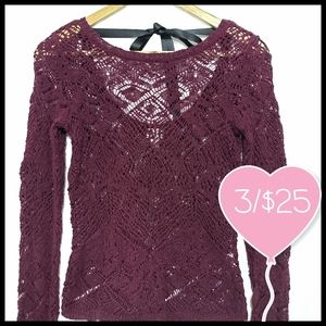 ⭐3/$25⭐ Dynamite Burgundy Crochet Knit Sweater